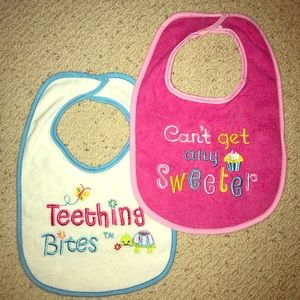 NEW terry cloth baby girl bibs set of 2